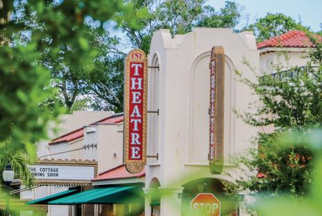 florida studio theatre sign in downtown sarasota