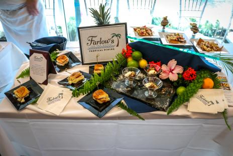 different food samplings displayed on a table from Farlow's Restaurant in Florida