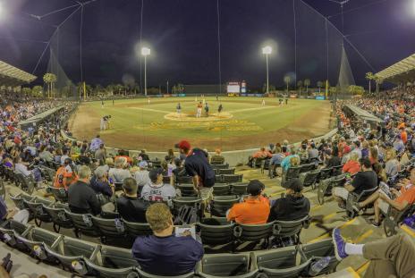 night spring training baseball game at ed smith stadium