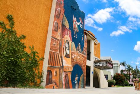 mural outside Florida Studio Theatre in Sarasota