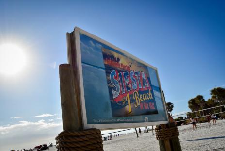 sign at Siesta beach in sarasota florida