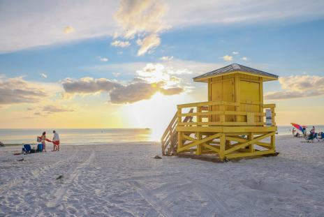 yellow lifeguard tower on siesta key beach in florida