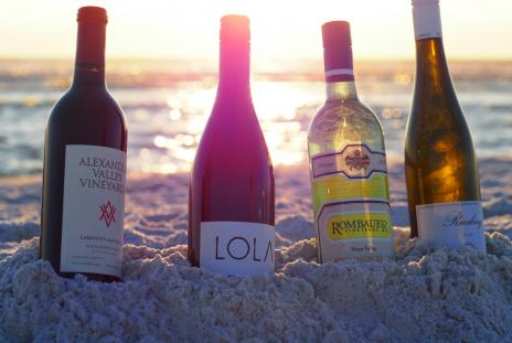 Forks and Corks featured wines on the beach in Sarasota