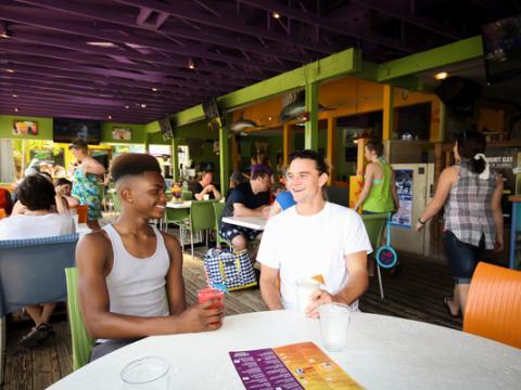 Customers at Daiquiri Deck on Siesta Key