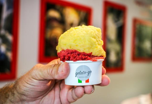 Hand holding two scoops of ice cream from gelato go in sarasota florida
