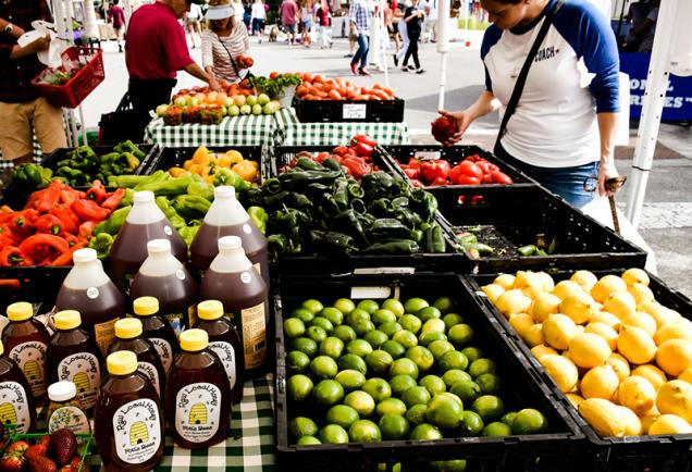 Farmer's Market items on a table with people shopping in Sarasota, Florida