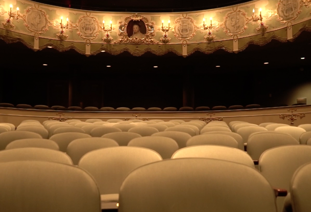 seats and backdrop at the historic asolo theatre in Sarasota, Florida