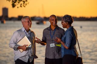 Meeting attendees at Bayfront Park