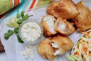 Beer battered fish with mango/cilantro sauce