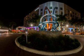 roundabout in downtown sarasota at night