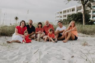 Family on the beach in Longboat Key, Florida