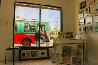 Trolley outside window in newtown florida
