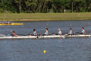 Youth athletes rowing at nathan benderson park in sarasota florida