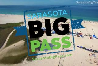 sarasota big pass logo in front of aerial view of siesta key beach