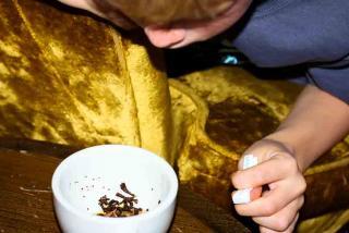 Reading tea leaves at the Tea House.  Photo credit: Liz Sandburg