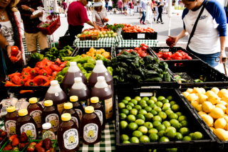 Table of fresh produce and honey