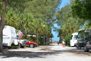 RVs lined up on a walkway to Turtle Beach at the campgrounds