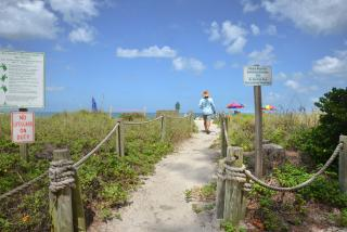 man walking down path to turtle beach on siesta key