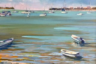 A plein air painting of the Sarasota Bayfront