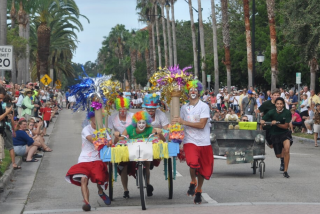 A bed race at the Sun Fiesta festival in Venice, Florida