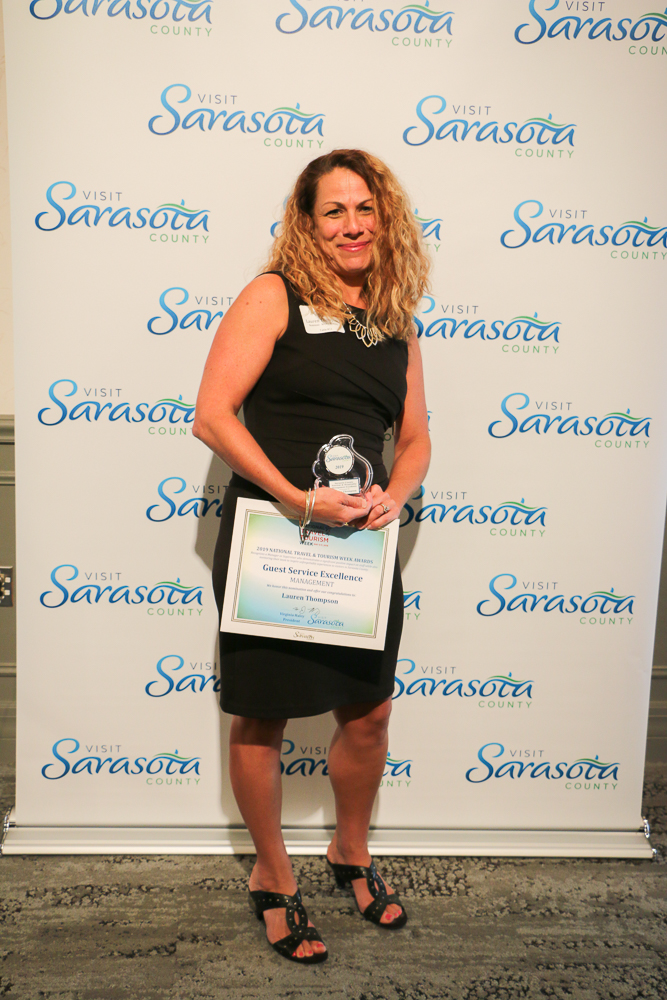 The recipient of the Sarasota County Tourism & Hospitality Management Excellence Award is Lauren Thompson of Ocean Properties, Hotels, Resorts and Affiliates.