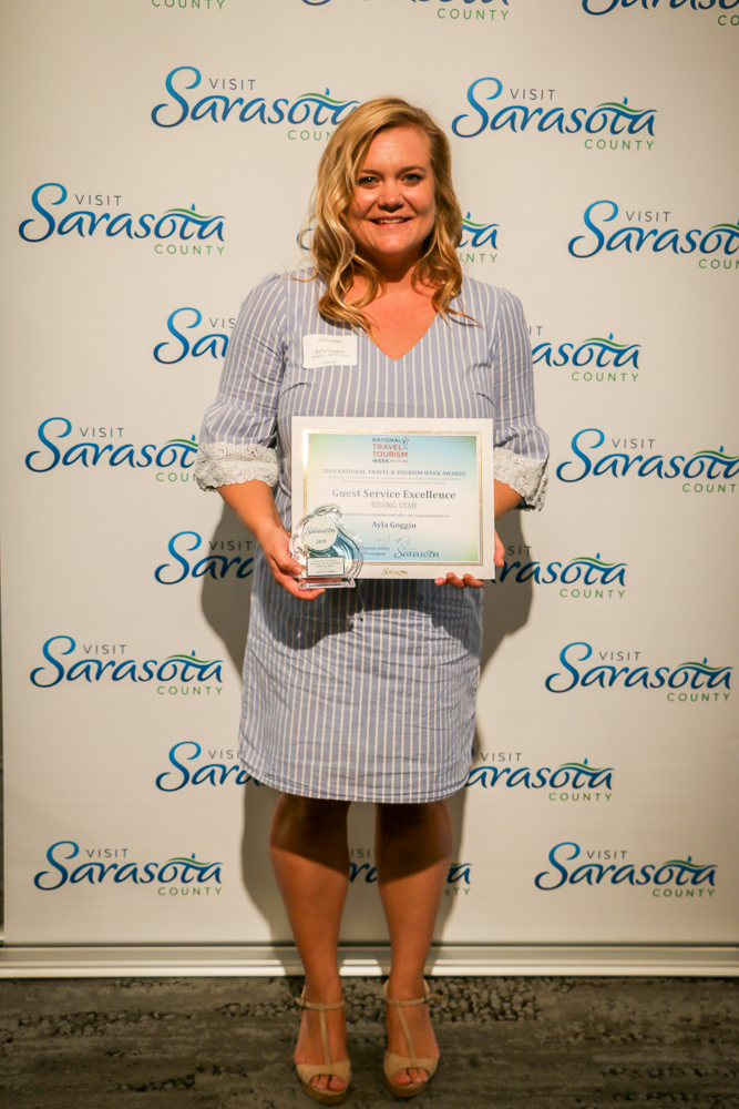 The recipient of the Sarasota County Tourism & Hospitality Volunteer Excellence Award is Ayla Goggin of Ocean Properties, Hotels, Resorts and Affiliates.