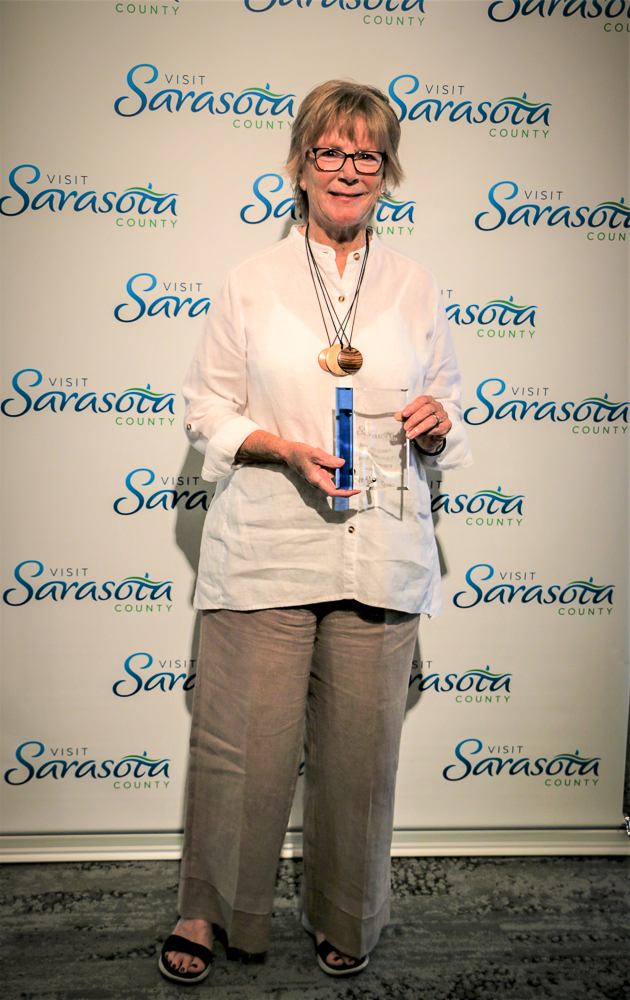 The Sarasota County Tourism & Hospitality Voice of Sarasota recipient, Jeanne Dubi.