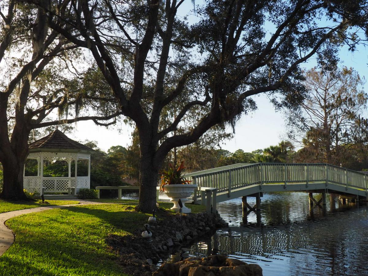 picture of bridge over a small pond to a gazebo near a sarasota restaurant