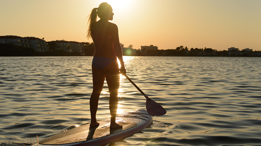 Stand-up Paddleboarding at dusk