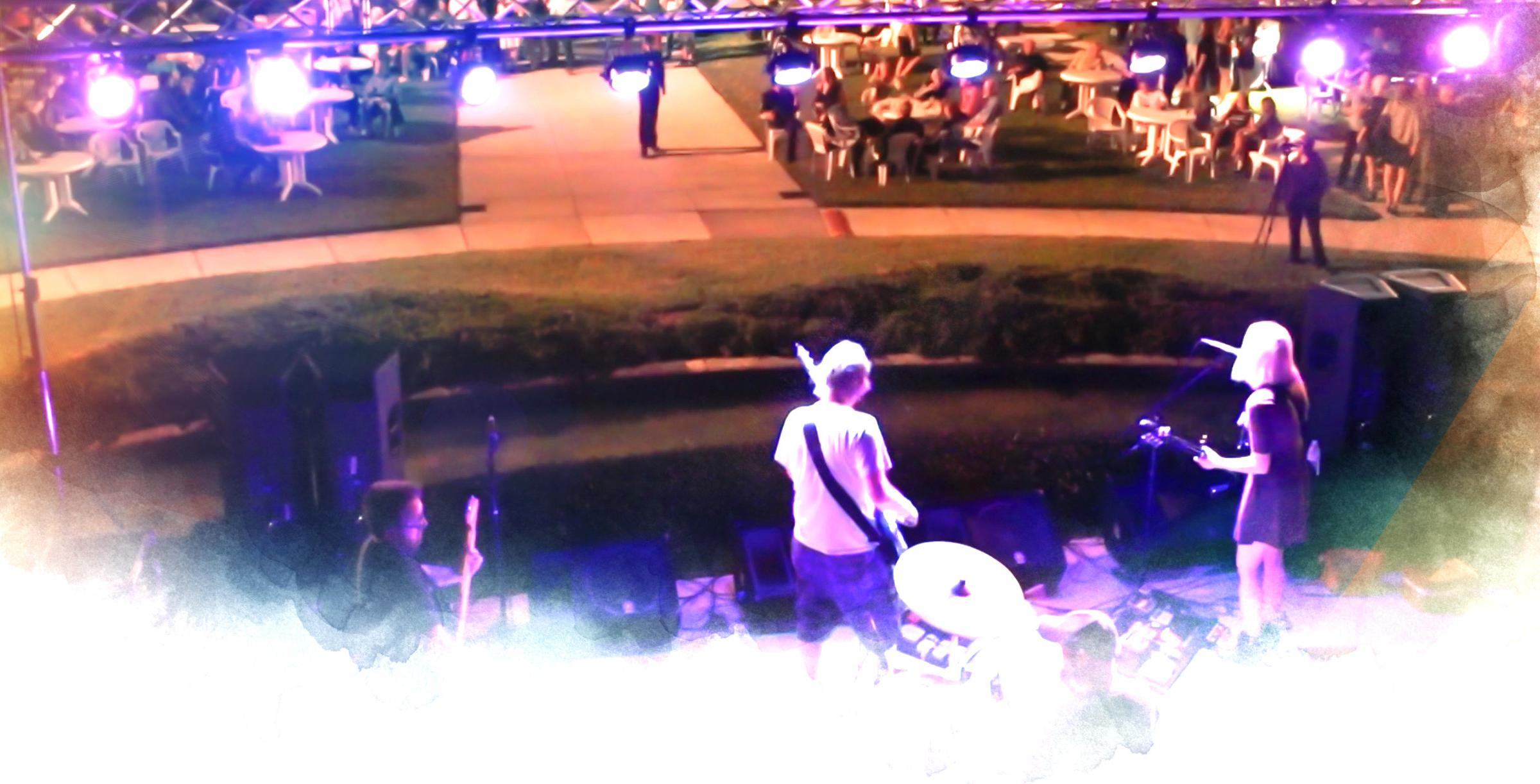 A band plays at the Ringling Underground event