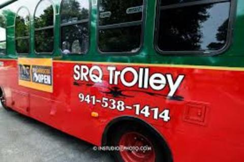 Our air conditioned trolley-- we have 5 so there is always room! - We are happy to partner with SRQ Trolley to offer these City Tours and special evening themed events!