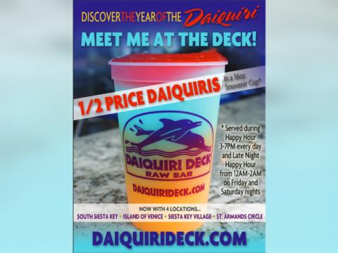 Happy Hour: 1/2 price daiquiris + $1 off all well drinks, draft beers, and wines