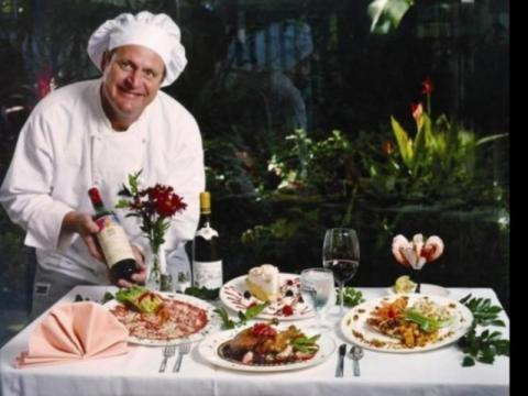 215_640x480.jpg - Chef/Proprietor Harry Christensen with an enticing selection of Harry's classic dishes.