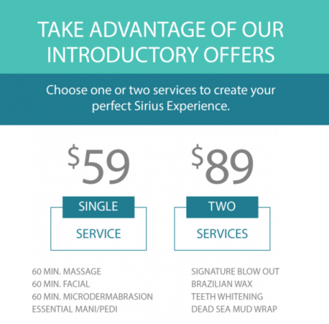 Intro offer - One service $59 or 2 for $89