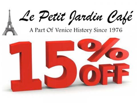 SHOPTEMBER - Le Petit Jardin Cafe - 15% Off Your Entire Purchase