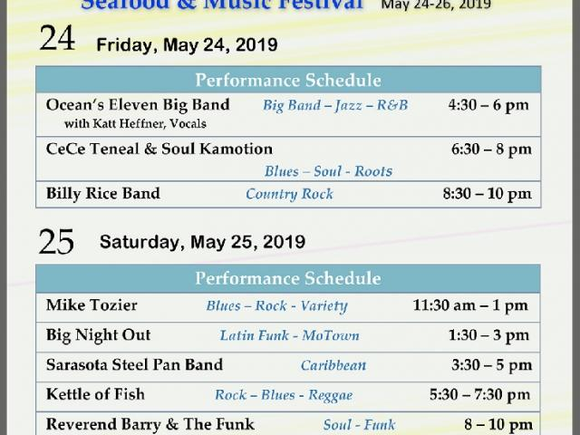 2019 Musical Performance Schedule