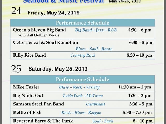 2019 Music Performance Schedule