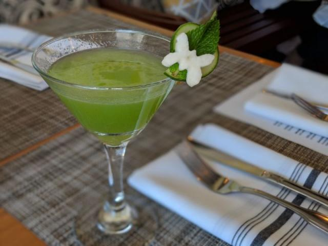 CUCUMBER & BASIL GIMLET - Green Mark Vodka, Fresh Basil, Cucumber Juice, Lime Juice and Lemon Juice