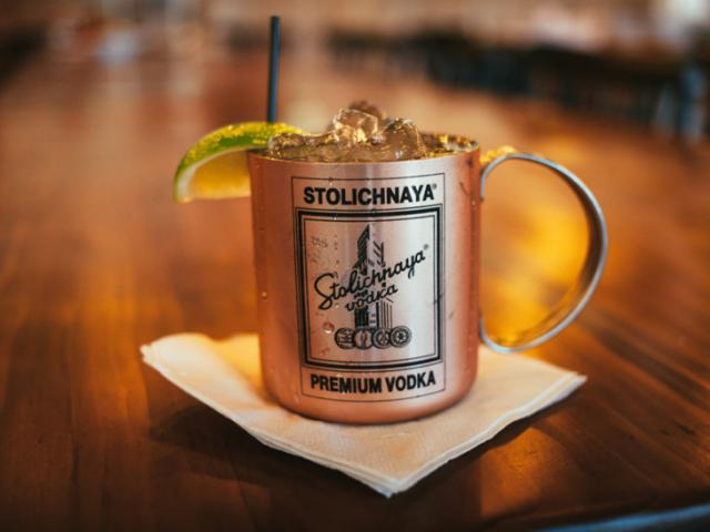 MOSCOW MULE - Green Mark Vodka, Angostura Bitters, Fresh Lime Juice, Ginger Beer