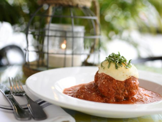 ALL BEEF MEATBALL - topped with fresh mozzarella over spaghetti squash, marinara and grated parmesan