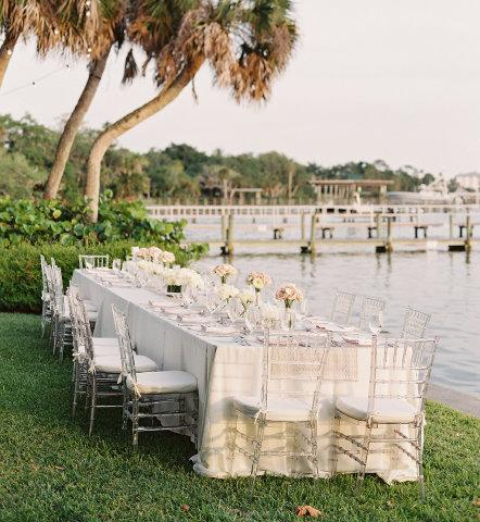 Waterfront reception - reception overlooking Little Sarasota Bay