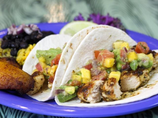 Cha Cha Coconuts - Our island-inspired menu includes such tropical delights as Jamaican Jerk Chicken Tacos are filled with grilled, boneless breast of chicken diced and basted with our jerk marinade and topped with our fresh avocado mango salsa.