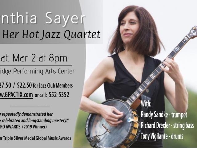 Star Banjoist / Vocalist / Bandleader Cynthia Sayer returns to Sarasota March 2