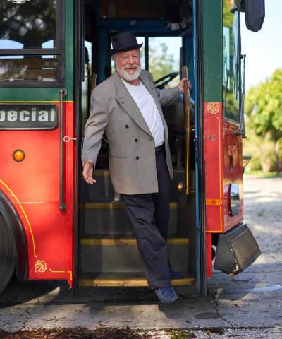 Circus Guide Bob Collins - Join our Circus Guide Bob Collins aboard the trolley for our fascinating Circus City Tour exploring the history of the circus in Sarasota through sites, stories and anecdotes!