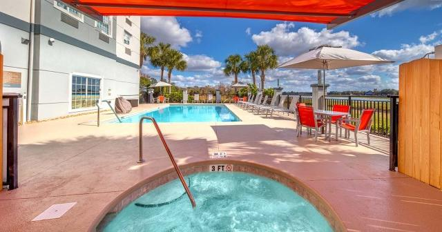 Outdoor Lakefront Pool and Spa with the best pool views