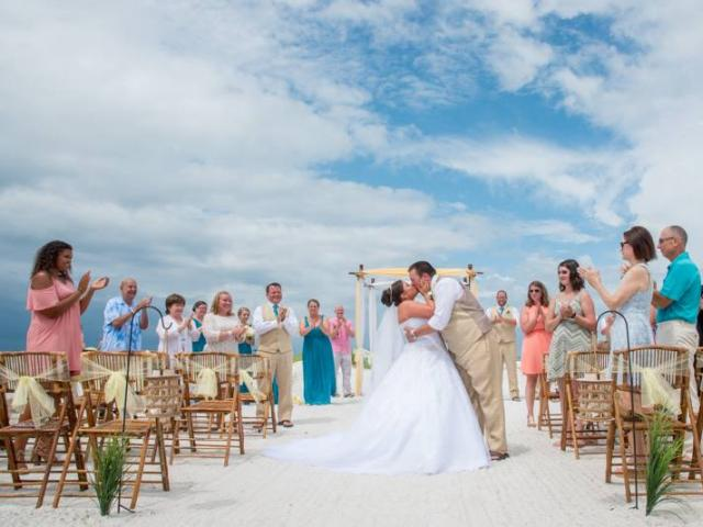 Lido Beach Wedding Kissing On The Exit