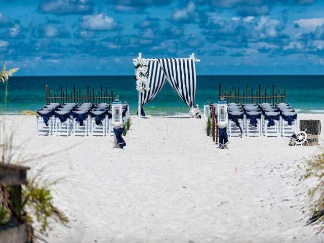 Nautical Tide Wedding Package Crisp Siesta Key Beach White Sand Accented With Our Traditional Navy