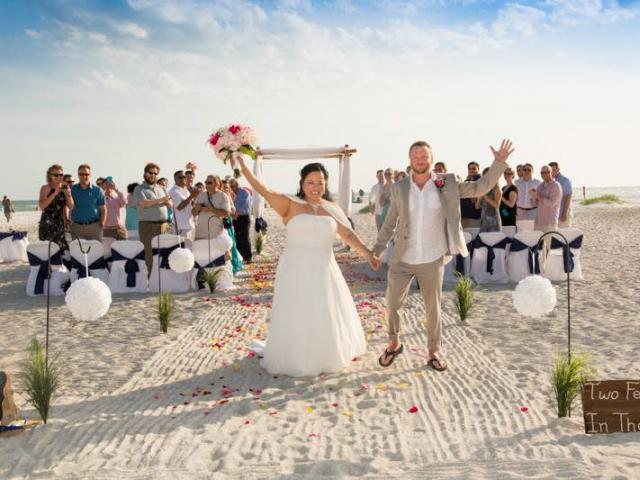 Lido Beach Wedding - Jumping for Joy Couple!
