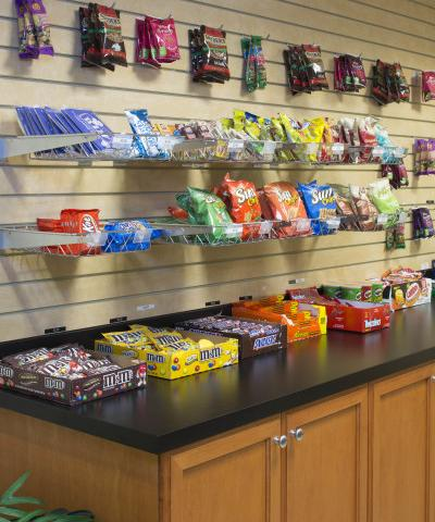 Suite Shop - Got the munchies at midnight? We're open, come on down! Located beside the welcome desk.