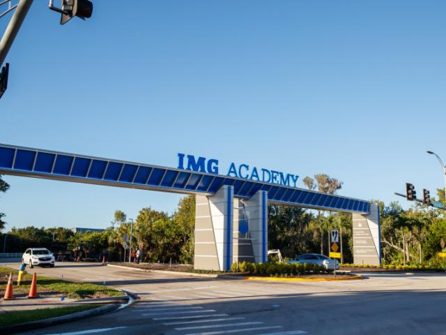 IMG Academy West Campus Entrance - Located on Florida's Gulf Coast, IMG Academy is home to over 1,200 dedicated student-athletes, professional athletes, teams, and trainees, world-class athletic and academic facilities, and more.